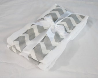 Grey & White Chevron Burp Cloths - Set of 2