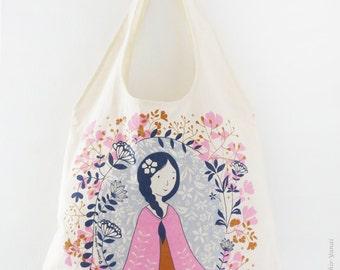 Tote Bag handmade, Eco friendly bag, Market bag - Girl Pink shawl - Beach bag, Girl gift idea, Screen print tote, Summer bag, Market tote