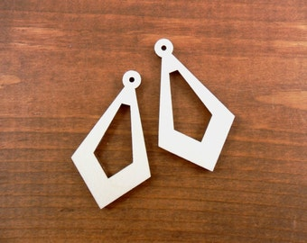 "Wood Triangle Dangle Earrings With Cut Out Laser Cut Wood Pendant 2 1/16"" H x 1 3/16"" W x 1/8"" - 12 Pieces"