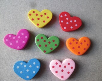 x 10 mixed wooden beads spacer heart dots 20 mm