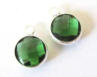Round charm/pendant set, faceted glass silver metal, 8mm, PALACE GREEN