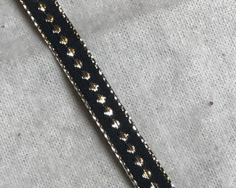 "woven black and gold 3/8"" wide trim"