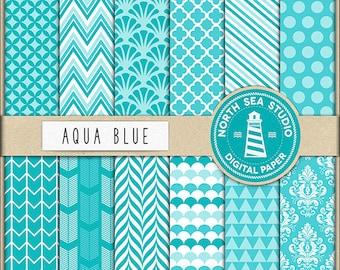 Aqua Blue Digital Paper Pack | Scrapbook Paper | Printable Backgrounds | 12 JPG, 300dpi Files | BUY5FOR8