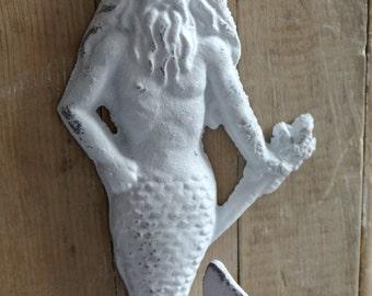 Merman cast iron hook/ Mermaid hook, Neptune hook, Beach Cottage Coastal Shabby Chic /Metal wall hook /Bathroom hook /Cast iron hook