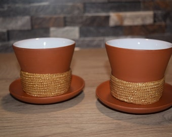 2 Tea mugs with saucer made of clay