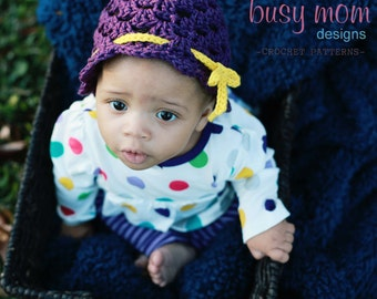 CROCHET PATTERN - Ribbon and Scallops Hat - All sizes included - Fast and Easy - PDF 104 - Sell what you Make
