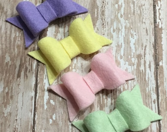 Pastel Spring Easter Felt Hair Bow Set of 4 Lavender, Yellow, Pink, Mint Clips Babies, Toddlers, Girls
