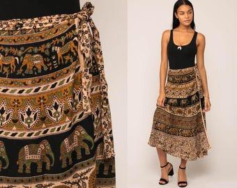 Indian WRAP Skirt Cotton Batik ELEPHANT Print 90s Midi Grunge Boho 1990s Vintage Hippie Festival High Waisted Bohemian Small Medium Large