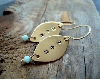Zen Earrings, Hand Stamped Jewelry, Yoga Jewelry, Brass, Seafoam Crystal, Personalized Jewelry, Serenity, Spiritual