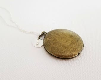 SALE Locket Necklace -Vintage Antique Bronze Locket Silver Necklace Bridesmaid Locket Necklace -Initial Locket NecklaceBridesmaid Locket