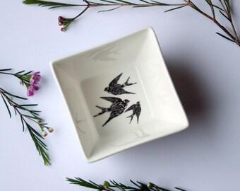 Tapas bowl Swallows, Screenprint, black and white, tapas tableware, nature print, tableware