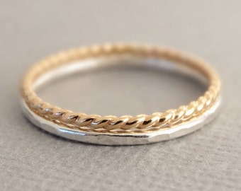 Gold Twist Ring, 925 Silver Ring - mixed metal rings - 2 Super Thin Stackable Thumb Rings, midi rings, pinky rings