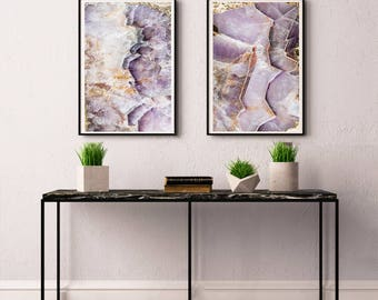 Set of 2 Agate Prints  - Prints (Print #023 & 024) - Fine Art Print - Two Paper Choices- Mineral Geode Agate Crystal Decor