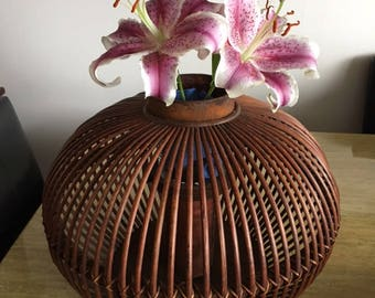 Wooden Asian Chinese lantern light candle holder