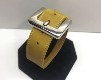 Vintage Yellow Leather Bracelet