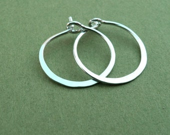 tiny sterling silver hammered hoops 18ga or 20ga, 5/8 inch