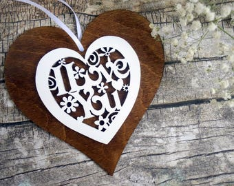 Laser cut wood heart ornament, 'I love you', Valentine heart, Valentine gift, rustic Valentine, 5th wedding anniversary gift