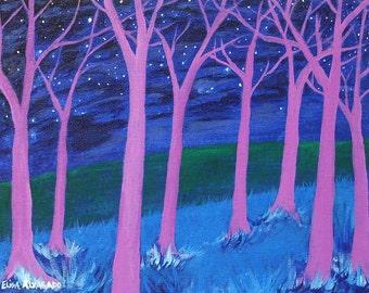 tree painting, Purple Trees, original acrylic painting on canvas, forest painting, night painting, original art, wall art