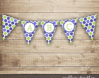 Purple & Lime Green Polka Dots Pennant Banner / Create Your Own Pennant Banner A-Z / Girl's Birthday - INSTANT DOWNLOAD - Printable