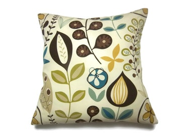 Decorative Pillow Cover Modern Floral Yellow Gold Brown Cream Blue Same Fabric Front/Back Toss Throw Accent 18x18 inch  x