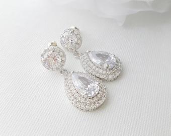 Bridal Earrings, Crystal Wedding Earrings, Cubic Zirconia, Large Teardrop Earrings, Halo Drop Earringss, Bridal Jewelry, Ena Halo Earrings