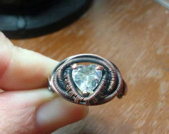 Helena* upcycled cubic zirconia wire wrapped ring