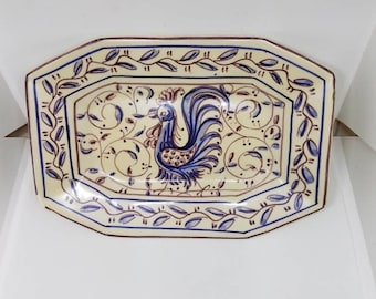 Hand painted ceramic tray, made in Portugal featuring a rooster.