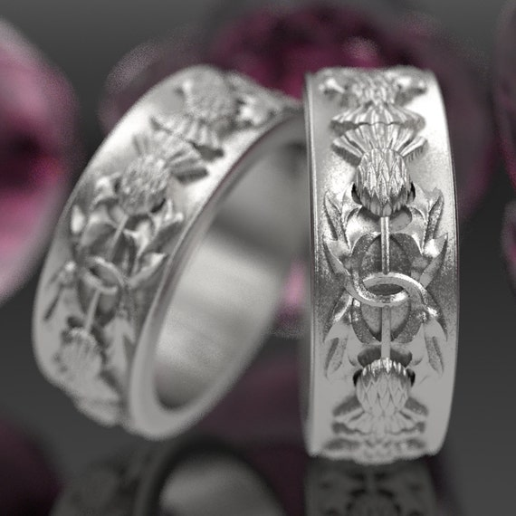 Thistle Ring Set of 2 Rings, 925 Sterling Silver Scottish Ring, Unique Rings for Her, Botanical Jewelry, Handcrafted Rings, Custom Size 5057
