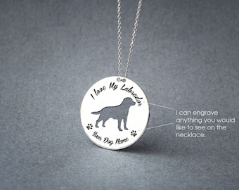 Personalised DISK LABRADOR Necklace / Circle dog breed Necklace / Labrador Dog necklace / Silver, Gold Plated or Rose Plated.