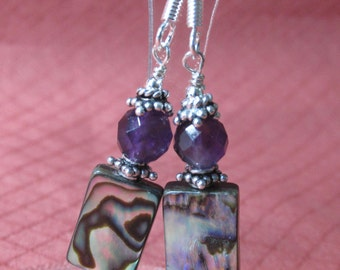 New Handmade Long Rectangle ABALONE SHELL Sterling Silver with Faceted Cut AMETHYST With French Style Ear wires