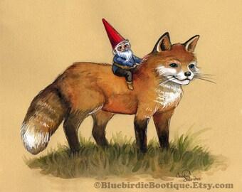 Mignon renard et impression de Gnome