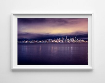 Seattle Skyline Purple Wall Art - Purple Home Decor, Minimalist Art, Cityscape Urban Photograph - Small and Oversized Art Prints Available