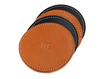 Personalized Coaster / Monogrammed Coaster Set / Leather Coaster Set / 3rd Anniversary Gift / Couples Gift Idea / Customized Coasters /
