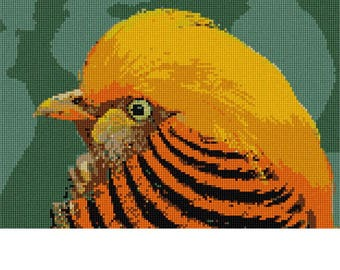 Needlepoint Kit or Canvas: Golden Bird