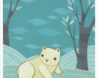 Polar bear ART PRINT sale - baby nursery art print, baby boy nursery decor - arctic animal art SALE