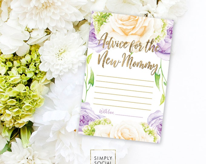 INSTANT DOWNLOAD BABY Shower Advice Card - Purple Flower Rose Hydrangea Baby Shower Printable Advice for the New Mommy Mom to be