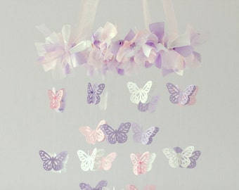Small Butterfly Mobile- Pink, Lavender & White- Nursery Decor, Baby Shower Gift, Nursery Mobile