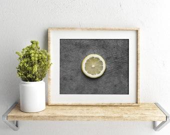 lemon // food photography print // kitchen decor // kitchen wall art  // dining room wall art // rustic wall art // citrus fruit