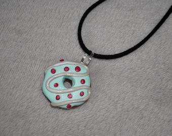 Polymer clay handmade doughnut charm necklace
