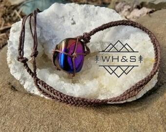 Flame Aura Quartz Hemp Wrapped Necklace , Polished Rainbow Aurora Quartz Jewelry, Healing Crystal Jewelry, Healing Crystal Necklace