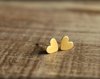 Itty Bitty Heart Earring Studs in Raw Brass, Raw Copper, or Silver Plated Brass, Stainless Steel Posts, Small Hearts Love Romance Friendship