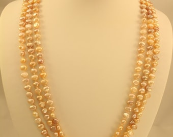 Pink Freshwater Pearl Three Strand Necklace