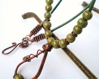 Necklace - Wire Woven Copper Pendant With Handpainted Green Wood Beads Necklace
