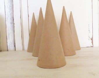 "Paper Mache Cones ~ 4"" ~ Set of 12 ~ Craft Supply ~ Holiday Decor ~ Ornaments ~ Kids Crafts ~ Ready to Decorate"