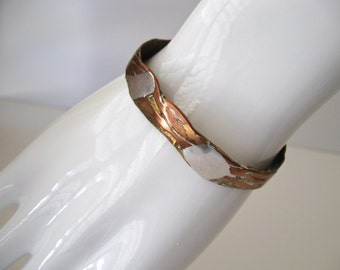 Vintage Copper Silver Brass Cuff Bracelet / Artisan Crafted Bangle Bracelet /Gift  Copper Bracelet for Her/Him