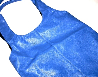 Hobo Bag Blue Vintage Leather Feel Purse Black Fabric Lined Quality Classic Style Large Tote New Condition Chic Trendy Tote Handbag Purse