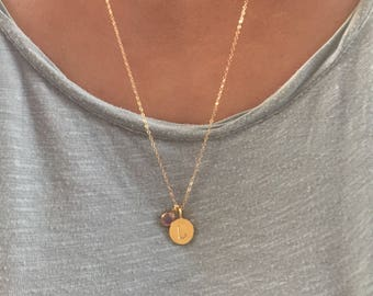 Long gold initial birthstone necklace, personalized jewelry, custom hand stamped, letter necklace, gold dot necklace, name necklace