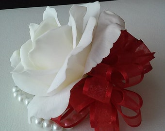 Red and White Real Touch Rose Wrist Corsage-Wedding Corsage-Prom Corsage-Homecoming Corsage