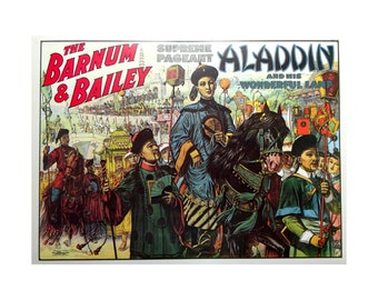 Barnum & Bailey Circus Poster Print - Aladdin and His Lamp, Vintage Large 2-Sided Victorian Book Art Reproduction,