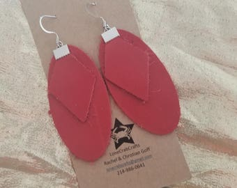 Leather Earrings - Red Geometric